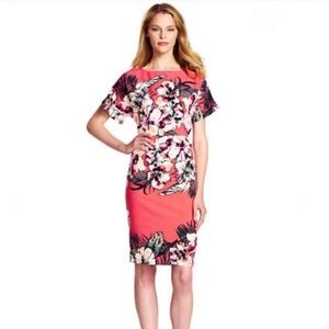 EUC Adrianna Papell Tropical Sheath Coral Floral